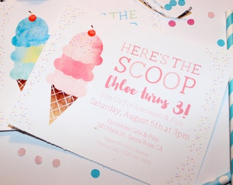 Here's The Scoop | Girl's Or Boy's Birthday Party Invitation | Invite
