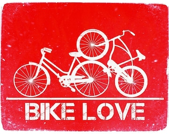 Bike Love - 8x10 Red Poster Print