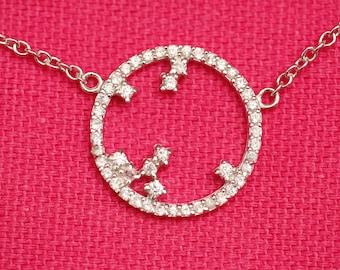 Women trendy round pendant necklace sterling silver or gold plated openwork and small white cubic zirconia