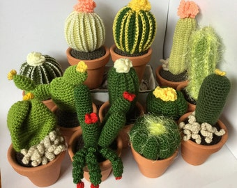 Large crocheted cactus with flowers , 7,5 cm x 8 cm ceramic pot, fake plant for home decoration, amigurumi different sizes and colours