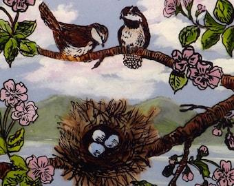 reverse painting, original painting, glass art painting, mixed media painting, framed bird painting,realistism art painting, signed painting
