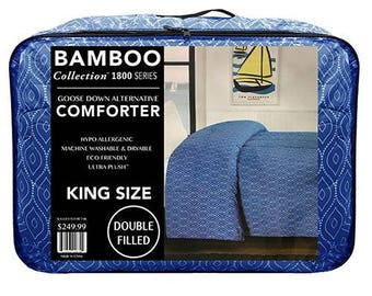 Bamboo 1800 Series Collection Goose Down Alternative Hypo Allergenic Comforter, King,Queen Blue, Red, Light Grey, Dark Grey, Purple, Brown