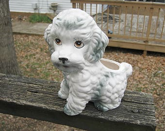 Ceramic Poodle Planter, Grey And White Planter, Dog Figurine 7 Inch Ceramic Planter, Puppy Planter, Collectible Poodle Dog