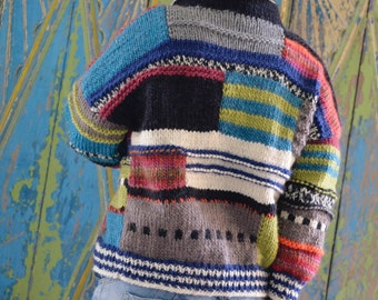 Asymmetrical, hand-knitted jacket, patchwork,