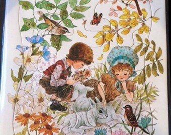 Vintage Children's 10 Piece Jigsaw Puzzle cardboard tray 1975 The Lamb Whitman Puzzle Kids Puzzle Boy, Girl and Lams and Birds in Forest