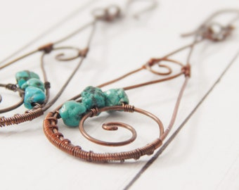 Turquoise Dangle Earring -Turquoise and Copper Earring -Boho Dangle Earring -Graduation Gift -For Her -Mother Gift -Eclectic Jewelry