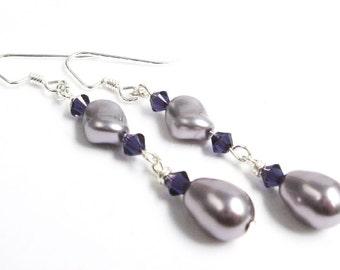Pearl Drop Earrings, Mauve Pearl Teardrop Earrings, Faux Pearl Earrings, Bridal Jewelry, Wedding Jewelry, Bridesmaid Jewelry