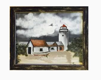 Lighthouse decor, Framed painting, Original painting, Original painting on canvas, original artwork, lighthouse, original landscape painting