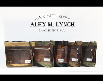 Zippered waxed canvas pouch bag with genuine front oiled leather accents by AlexMLynch - made in USA