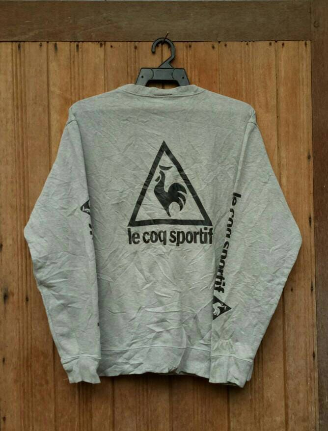 rare ! vintage le coq sportif embroidered pullover jumper crew neck sweatshirt