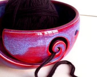 Purple Blue Spiral Ceramic Wheel Thrown Yarn Bowl - MADE TO ORDER