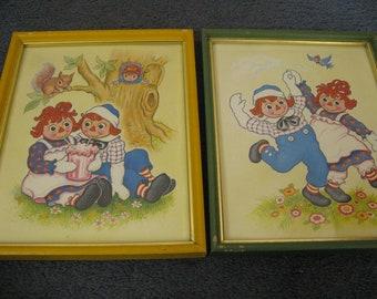 Vintage Raggedy Ann and Andy Litho Art Prints 1973 ~~  Pair of  Vintage Art Prints