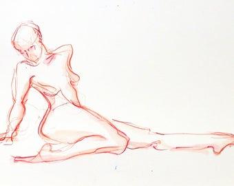 Caliente Orange Yoga Stretch Figure Drawing on Paper, Gift for Yogi, Gift for Yoga Lover, Yoga Studio Decor, Yoga Teacher Gift