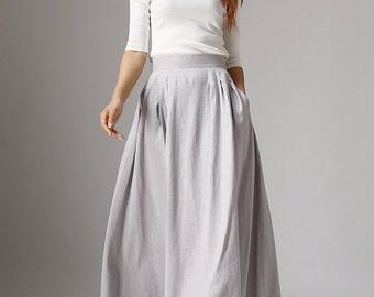 Maxi skirt, linen skirt, A line skirt, womens skirts, pleated skirt, gray skirt, fitted skirt, summer skirt, pocket skirt, made to orde 1041