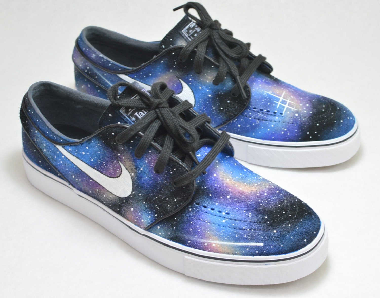 Custom Hand Painted Shoes, Nike Zoom Stefan Janoski Galaxy Sneakers, Nike SB