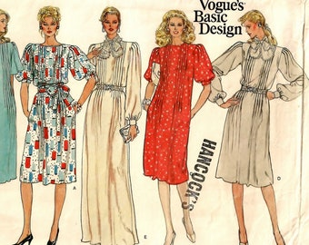 """A Tucked Bodice, Flared Pullover Dress Pattern w/Sleeve, Neckband & Length Variations for Women: Uncut - Size 16, Bust 38"""" • Vogue 1163"""