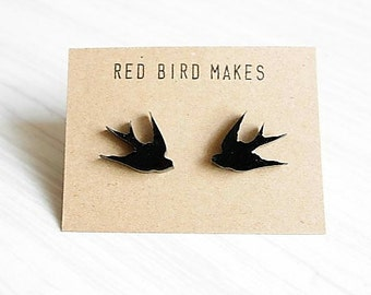 Lasercut Black Swallow Stud Earrings