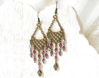 pink victorian earrings pink chandelier earrings vintage style earrings bronze earrings pink boho earrings boho jewelry bohemian