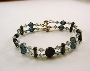 Sodalite, Swarovski Crystal and Beaded Bracelet, Gemstone Bracelet