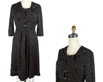 ON SALE 1950s Dress // Black with Silver Lurex Chevron Striped Dress with Shawl Collar