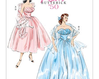 6454, Butterick, Retro, 1950 design, 50's style dress, Wedding Gown, Formal Gown, Prom Dress, Vintage Style, Evening Gown, Ball Gown