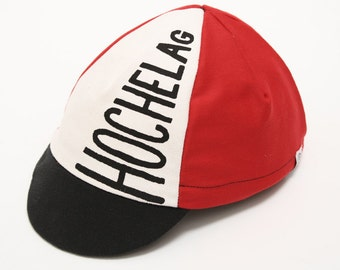 Cycling cap Hochelag / red, white and black / 4 panels / silkscreen