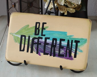 be different boho sign, boho wall art, be different sign, feather sign, boho home decor, hippie decor, hippie sign