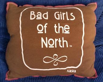 Böse Mädchen Nord-Upcycling-Safe-Sex-Kissen, w / Kondom & Lube Taschen, OOAK, braun, rosa, Alaska