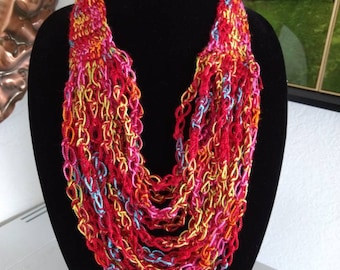 Beaded crocheted necklace, multi-strand crocheted necklace, red crocheted necklace, Southwest Pueblo style necklace, infinity scarf