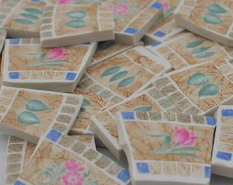 35 Broken Plate Mosaic Tiles - Floral - Pink Flowers and Leaves -