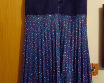 "Hippie Boho Shabby Chic upcycled  denim jean fabric flowered long skirt Lee size 14  / 32"" waist"