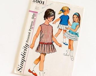 "SALE Vintage 1960s Girls Size 5 Mod Drop Waist One Piece Dress Simplicity Sewing Pattern 5901 Complete, b23.5 w21.5"""
