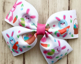 Easter Bunny Hair Bow - Easter hair bow, bunny hair bow, Easter hair clip, bunny hair clip, Easter basket gifts, girls Easter bows