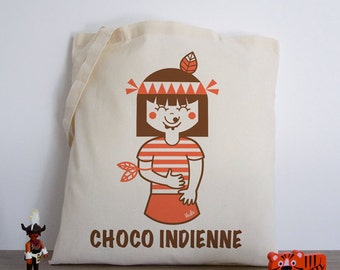 Choco-Indian (Tote Bag cotton bio choco Indian cute ateliervudo vudo pink girl illustration retro vintage Indian version)