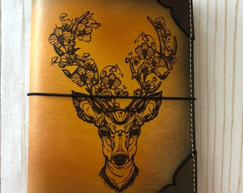 Cherry Blossom Deer Leather travelers Notebook Leather Dori