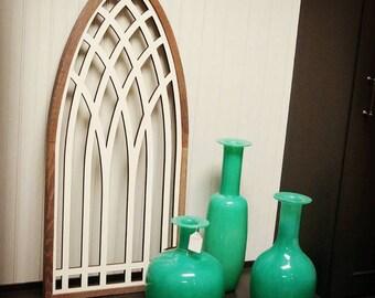 Rustic Home Decor Window Frame ~ Arch Window ~ Fretwork Church Window Architecture Art & Farmhouse Rustic Home Decor .. Faux Window 0485