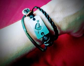 Women's Leather Layer Bracelet. Stack Bracelet. Heart Jewelry. Punk Bracelet.