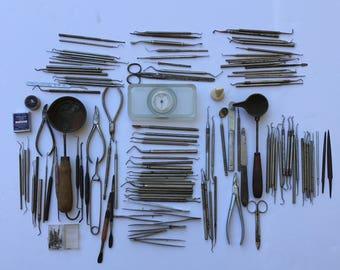 Vintage Dental Tools, Mid_Century, Circa 1960, Vintage Medical Tools
