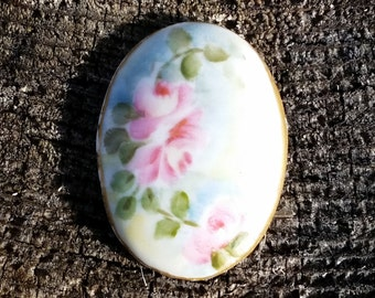 Set of Three Gorgeous Handpainted Rose Ceramic Cabochons