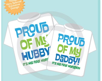 Matching Marathon Shirts - Proud of my Hubby and Proud of my Daddy Matching Set - First Marathon Set for Mom and child - 05182018c