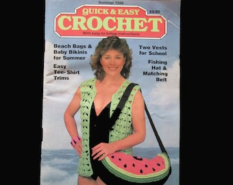 Crochet, Crochet Patterns, How to crochet, Vintage Quick and Easy Crochet Magazine Summer 1986