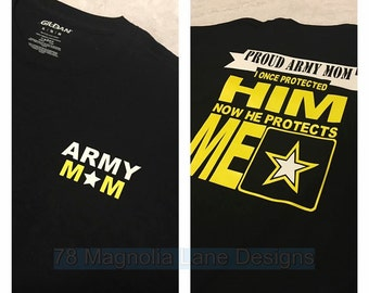 Proud Army Mom/Dad/Sister/Brother/Uncle/Aunt T shirt Customize Relationship & Soldiers Gender/Basic Graduation Shirt/Military Graduation Top