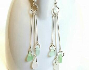 GENUINE Sea Glass Earrings, Beach Glass Earrings, Beach Earrings, Seaglass Earrings, Real Beach Glass, Real Sea Glass, Sterling Silver