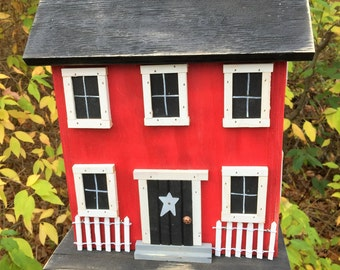 Handmade Folk Art Rustic Country PrimitiveBirdhouse,  Saltbox Home Decor Garden Red Birdhouse, Functional