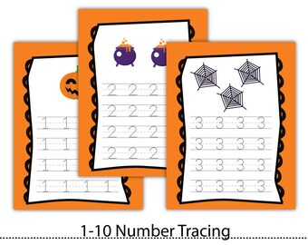 1-10 HalloweenTracing Letters,Tracing Numbers,Handwriting practice,Letter Tracing,Instant  Download #WS003