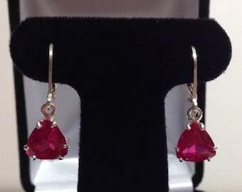Beautiful Trillion Cut Ruby Earrings Sterling Silver Drop Dangle Leverback Earrings Fine Jewelry Trends Triangle Ruby Earrings Trillion