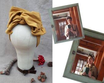 Turban Headband Turbandband  senf gelb curry Worker Style Haarband Vintage fifties forties 40-er 50-er Fünfziger Haarschmuck stirnband gold