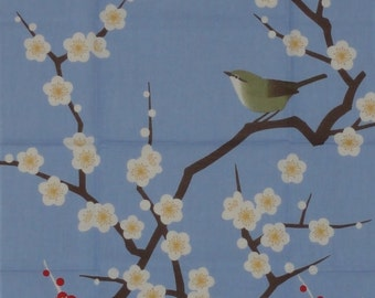Japanese Wall Art Tenugui Japanese Fabric 'Nightingale and Plum Blossoms' w/Free Insured Shipping