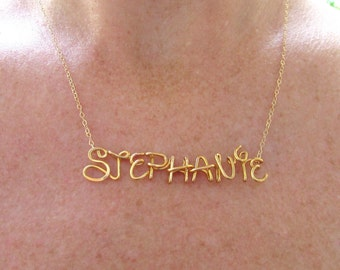 Name Necklace Gold 14K, Wire Wrap Disney Necklace, Personalized Name Necklace, Disney Jewelry Gift, 14K Gold Filled, Personalized Girls Name