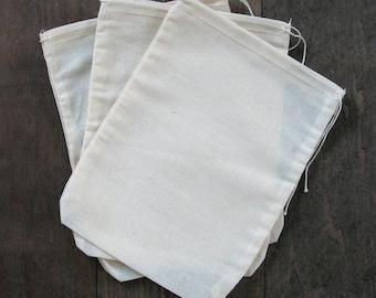 1000 3x4 Natural Cotton Muslin Drawstring Bags